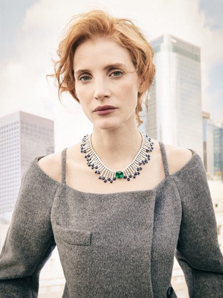 Actress Jessica Chastain poses in Prada coat with Piaget jewelry