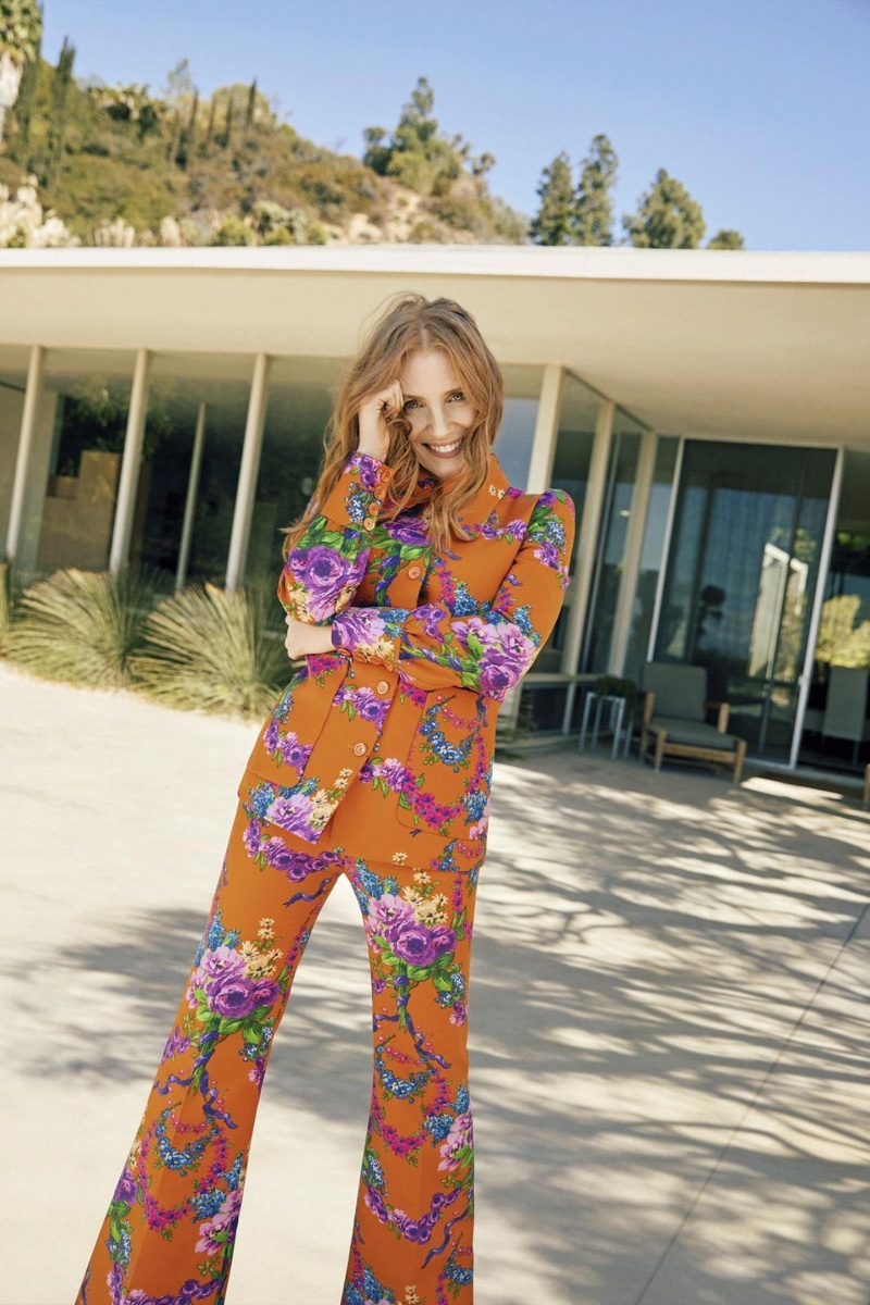 Actress Jessica Chastain wears printed blazer and trousers from Gucci