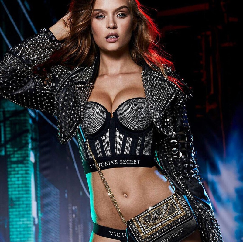 Josephine Skriver channels rock and roll vibes for Victoria's Secret x Balmain collaboration