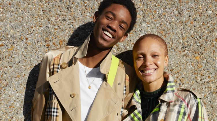Montell Martin and Adwoa Aboah wear Burberry trench coats for #JuergenXAdwoa campaign