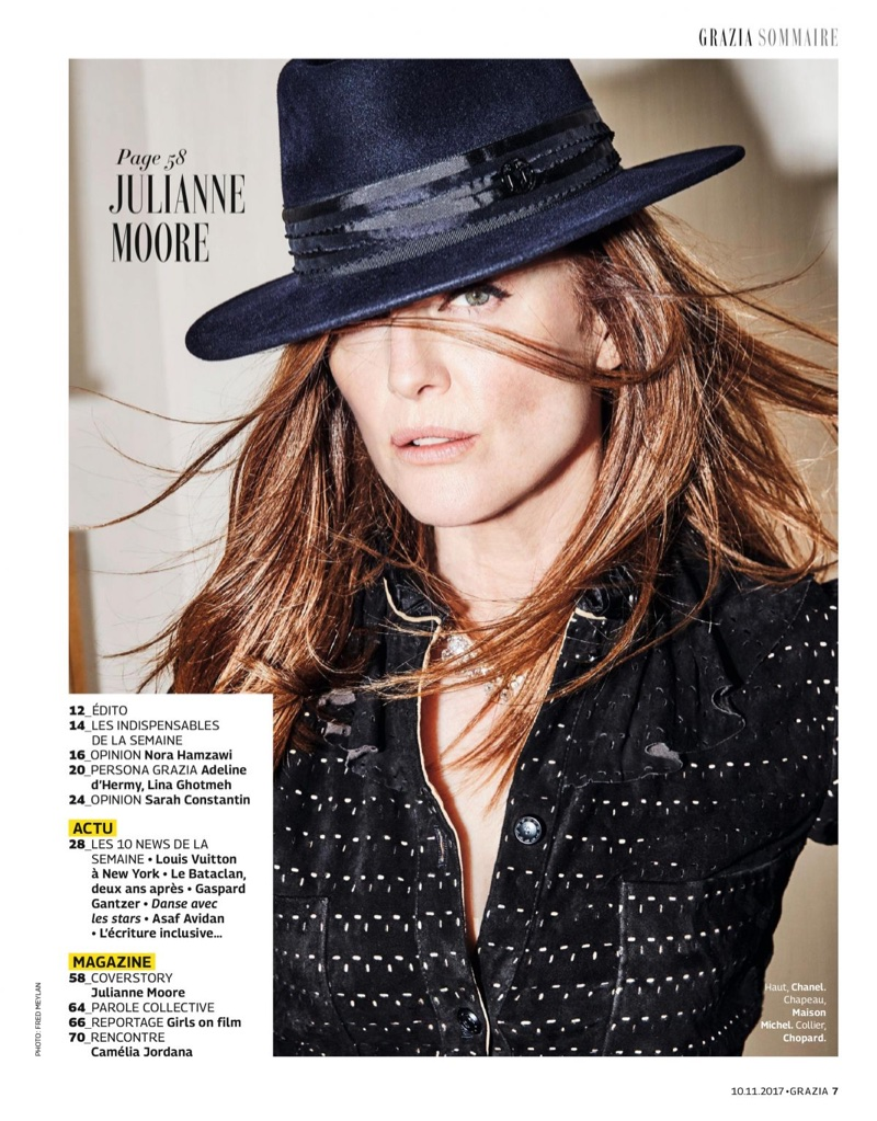 Jullianne Moore poses in Chanel jacket, Maison Michel hat and Chopard necklace