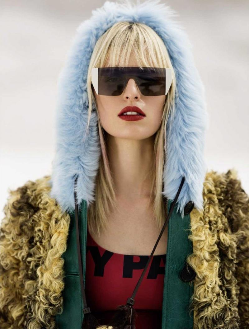 Karolina Kurkova Models Colorful Coats for ELLE Russia