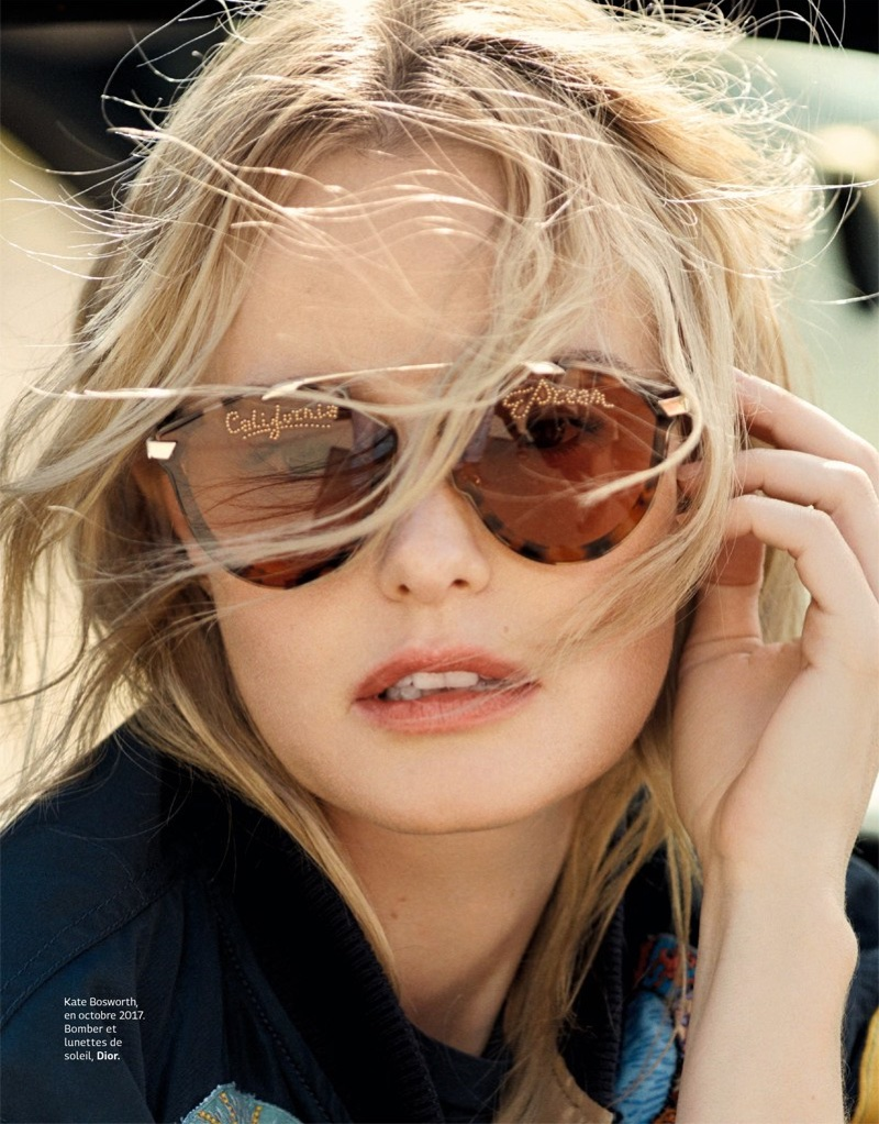 Ready for her closeup, Kate Bosworth wears Dior bomber jacket and sunglasses
