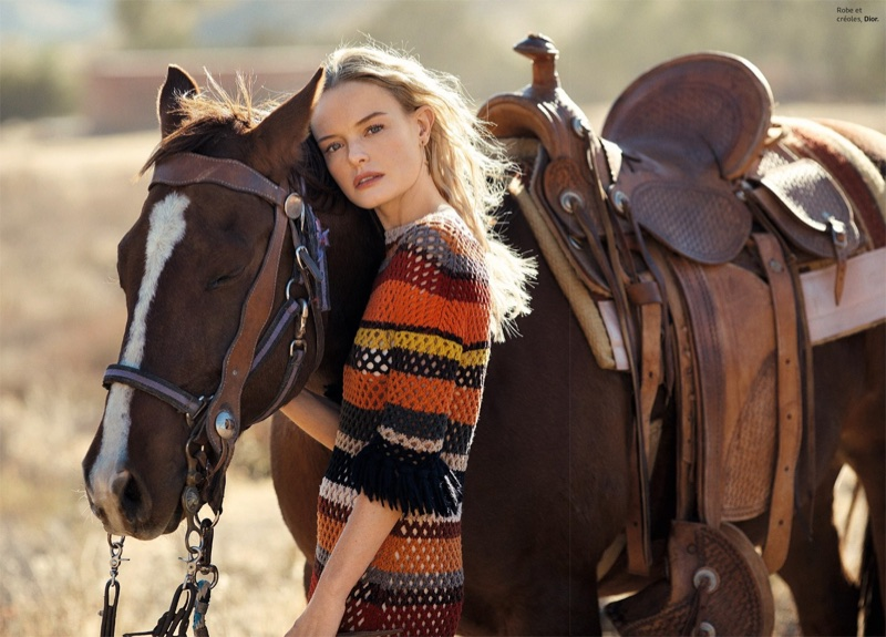 Posing with a horse, Kate Bosworth wears Dior knit dress