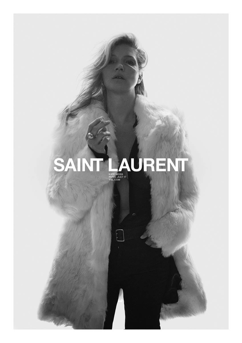 Supermodel Kate Moss wears a fur coat in Saint Laurent's spring 2018 campaign