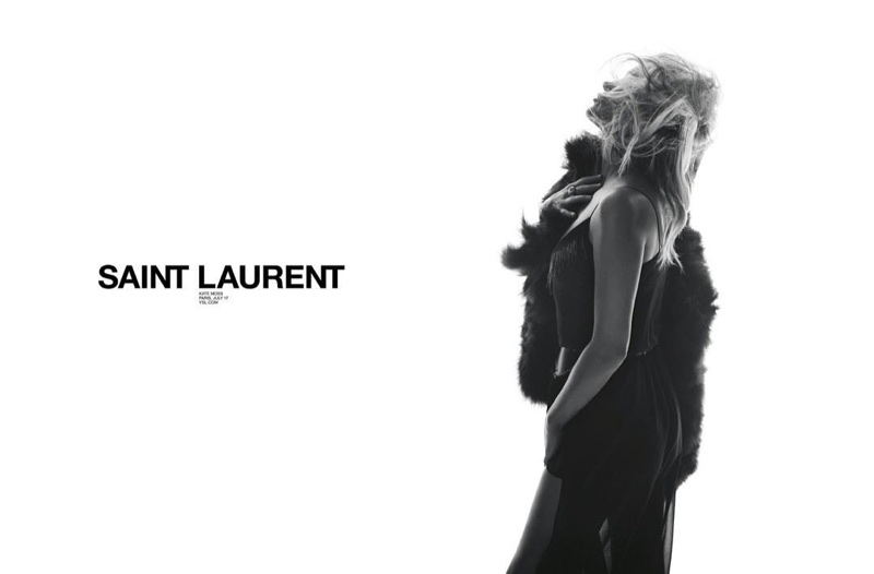 An image from Saint Laurent's spring 2018 advertising campaign with Kate Moss