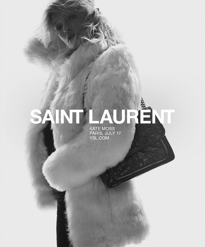 Supermodel Kate Moss covers up in fur coat for Saint Laurent's spring 2018 campaign