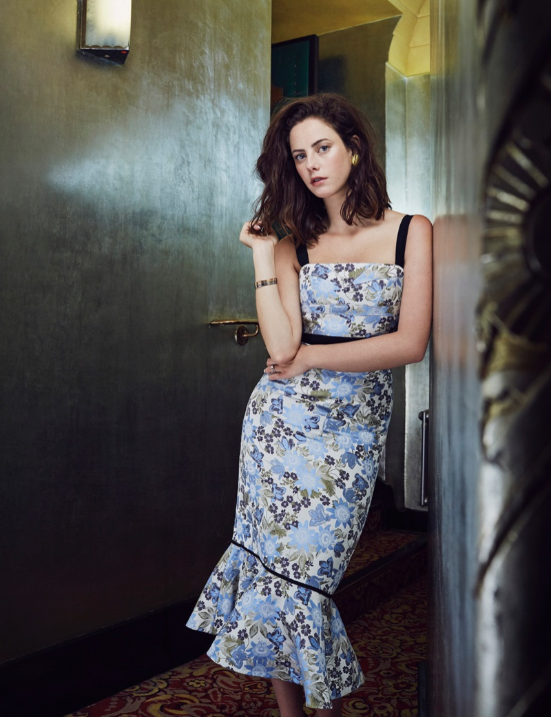 Actress Kaya Scodelario poses in floral print Erdem dress