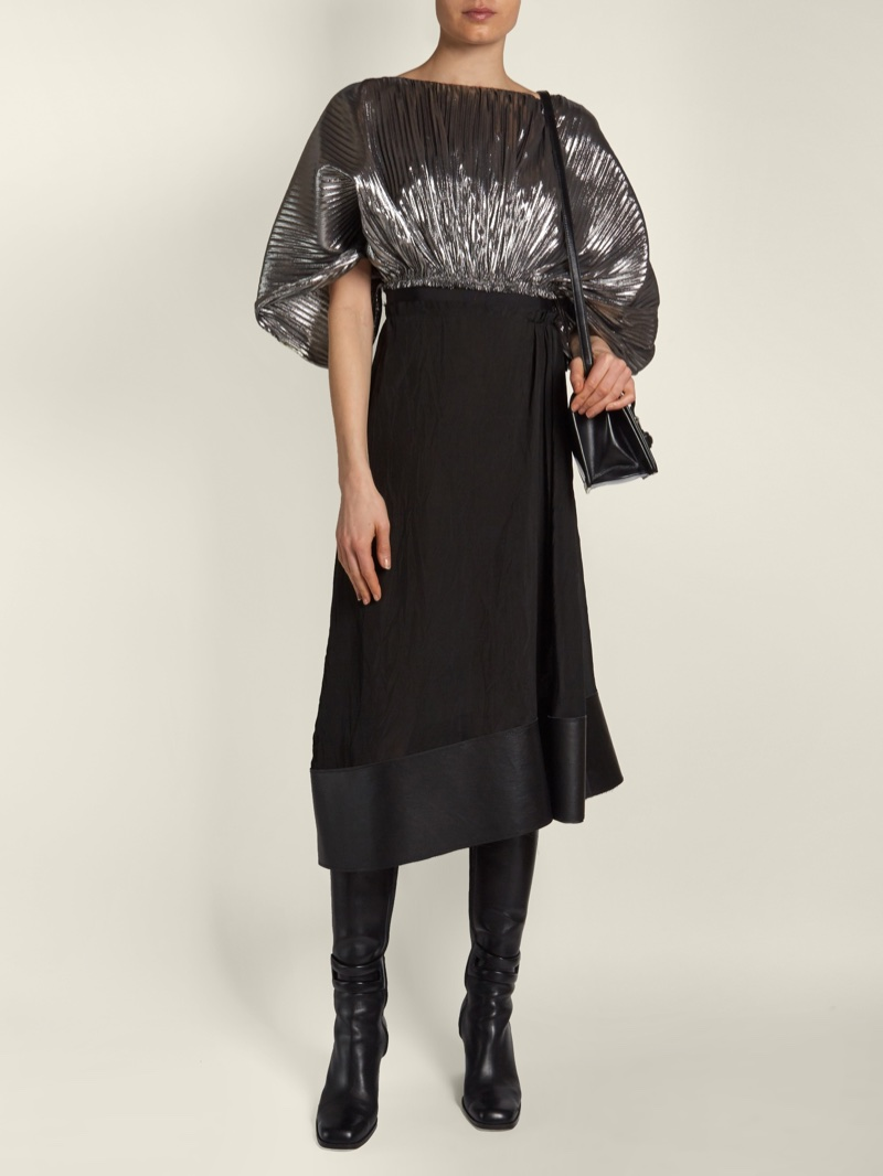 Loewe Bi-Color Cocoon-Sleeved Lurex Dress $1,715 (previously $2,450)