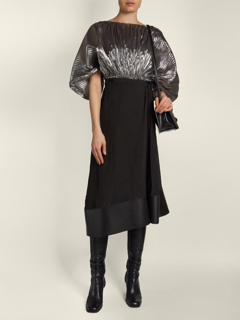 Loewe Bi-Color Cocoon-Sleeved Lurex Dress $1,715 (previously $2,450)