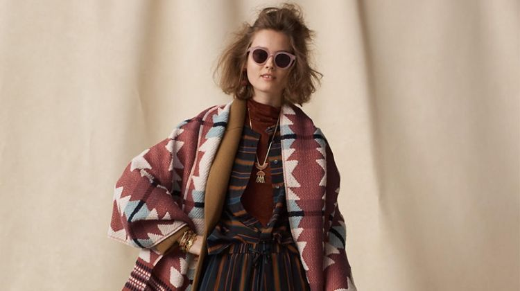 Madewell Atlas Cocoon Coat, Night Sparkle Turtleneck, Silk Clermont Stripe Shirt, Pajama Trousers in Clermont Stripe, Textured Carpet Scarf, Halliday Sunglasses and Vans Old Skool Lace-Up Sneakers in Pink Leather
