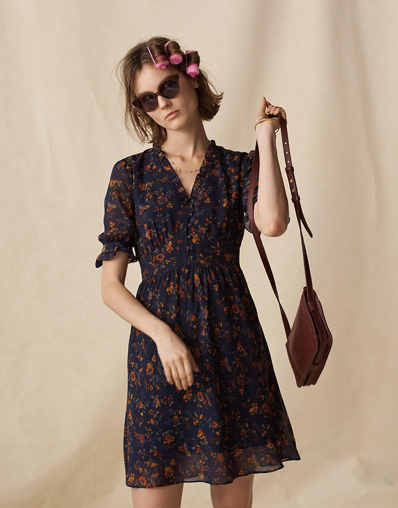 Madewell Freesia Dress in Climbing Vine, Athens Cat-Eye Sunglasses and The Simple Crossbody Bag