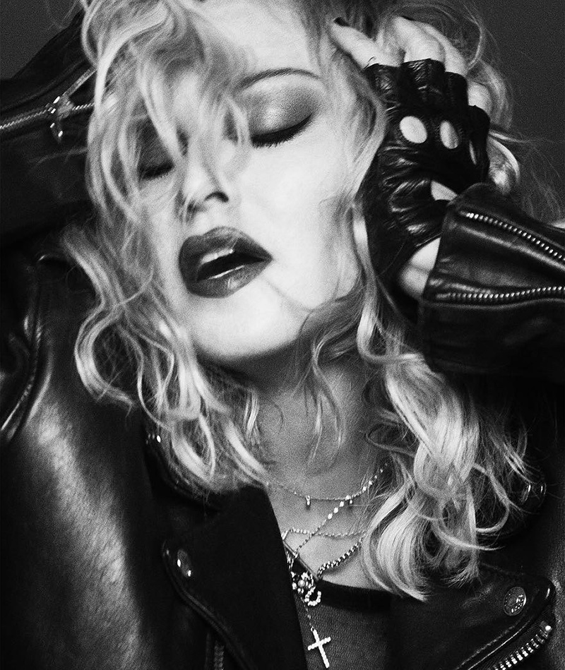 Singer Madonna gets her closeup in this black and white shot for MDNA Skin