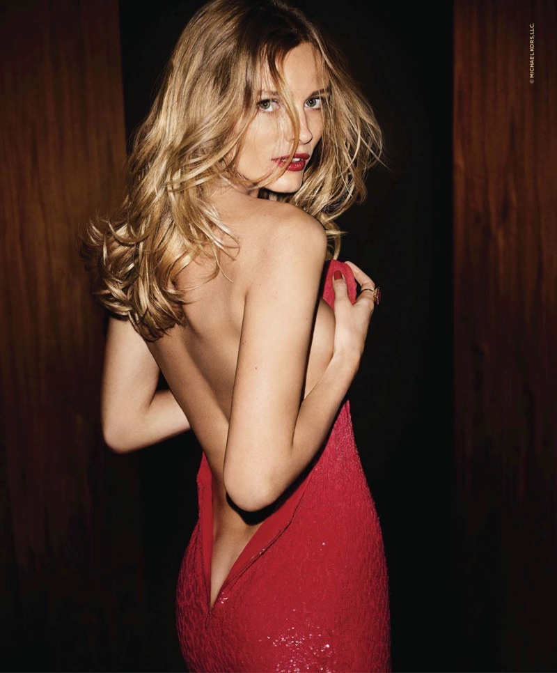 Edita Vilkeviciute dazzles in red gown for Michael Kors Sexy Ruby fragrance campaign