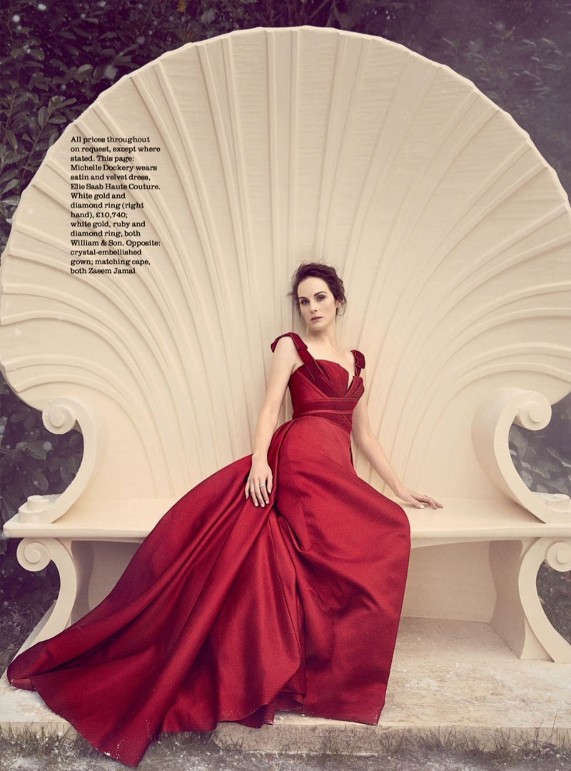 Dressed in red, Michelle Dockery wears Elie Saab Haute Couture satin and velvet dress