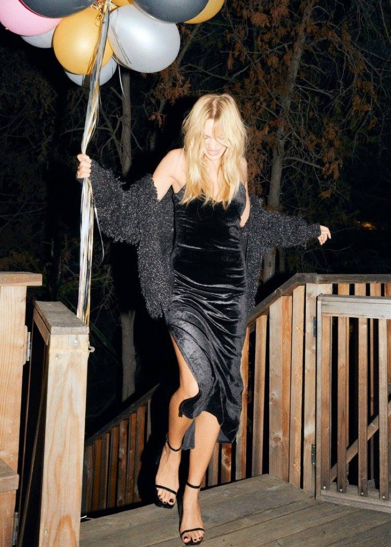 & Other Stories Metallic Wool-Blend Cardigan, Bodycon Dress with Rhinestone Straps and Patent Leather Sandalette