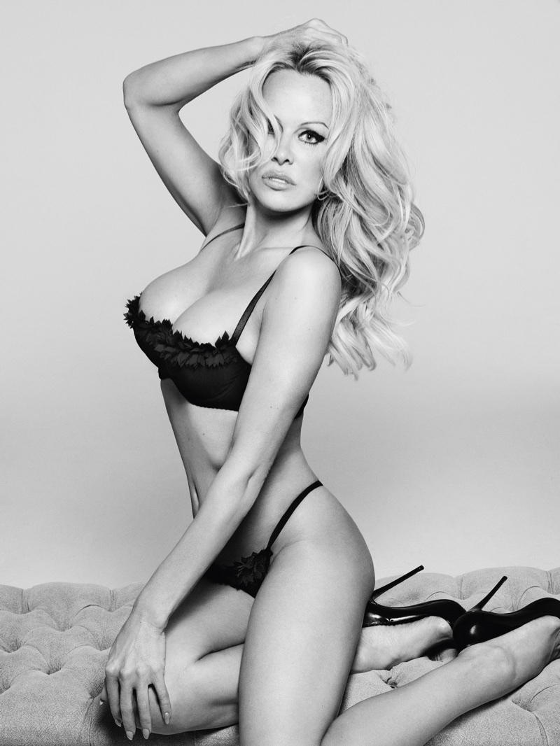 Pamela Anderson flaunts her curves in bra and panty set. Photo: Rankin/The Full Service for Coco de Mer