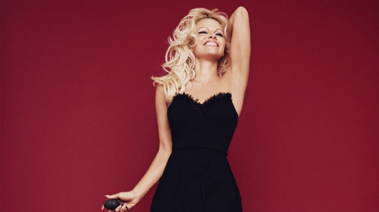 All smiles, Pamela Anderson wears black nightie. Photo: Rankin/The Full Service for Coco de Mer