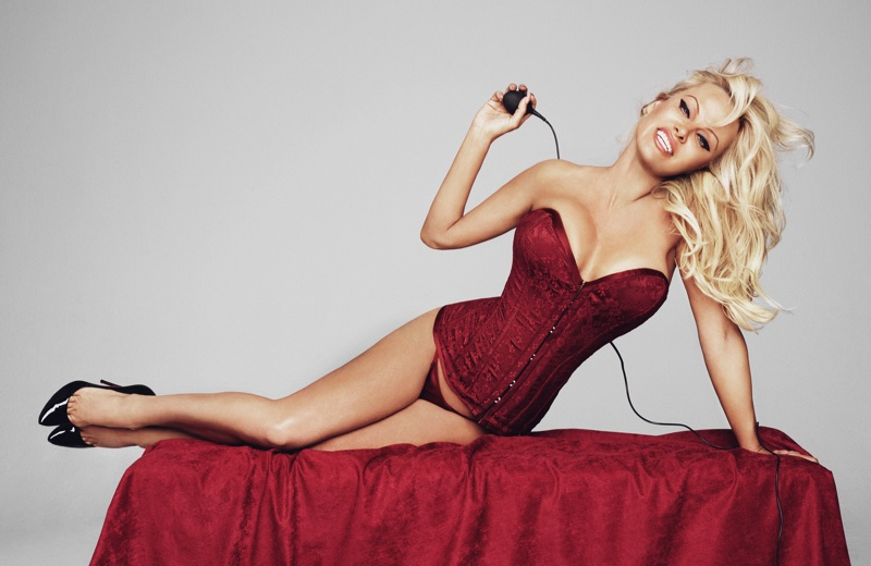 Looking red-hot, Pamela Anderson wears red corset.  Photo: Rankin/The Full Service for Coco de Mer
