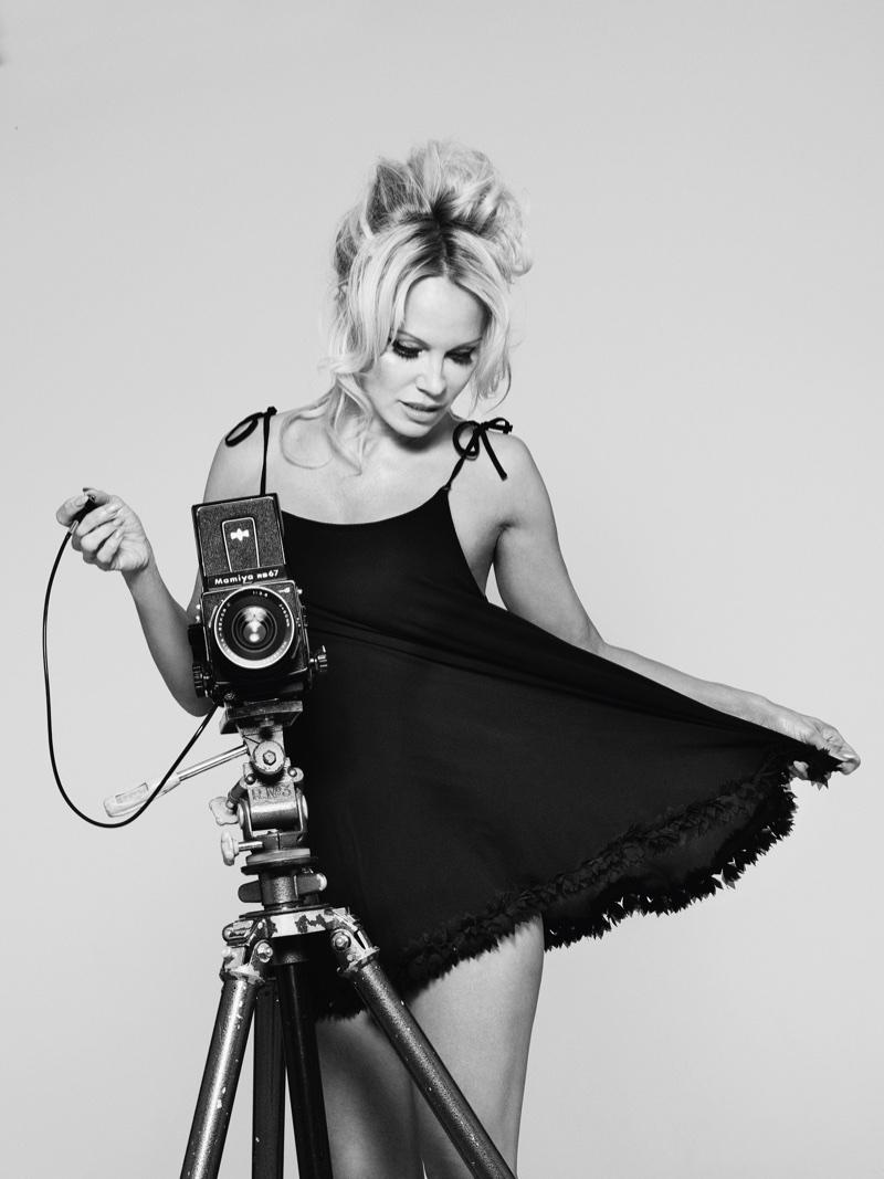 Pamela Anderson poses in slip dress. Photo: Rankin/The Full Service for Coco de Mer