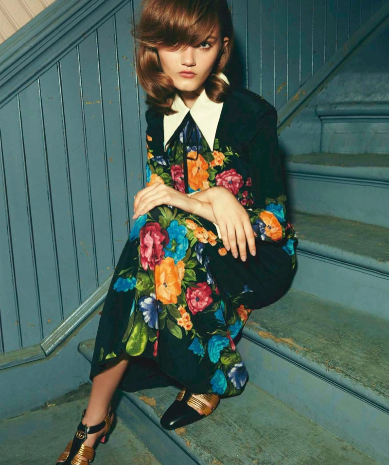 Peyton Knight Models Gucci's Statement Styles for Harper's Bazaar Chile