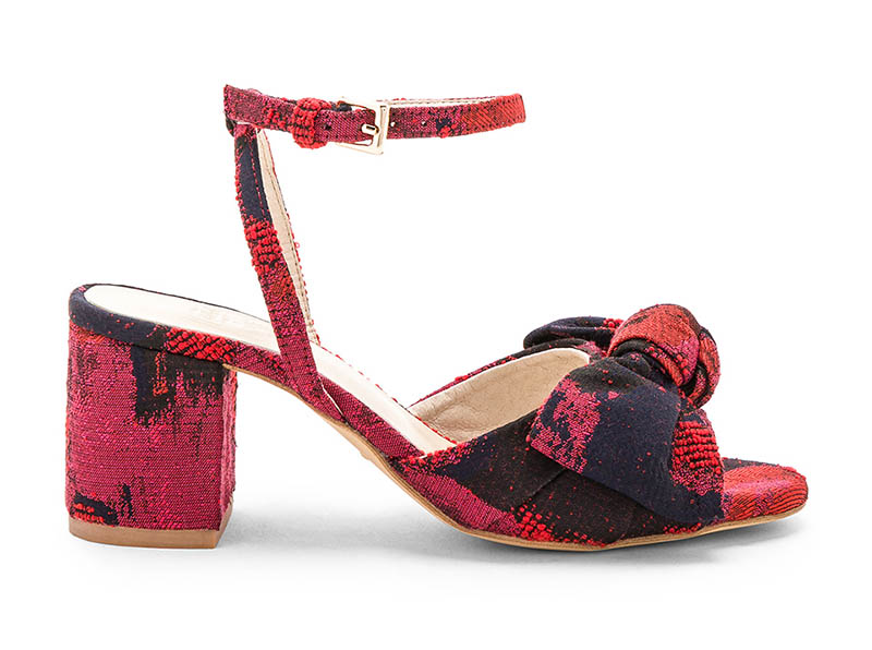 RAYE x Stone_Cold_Fox Carmine Calf Hair Mule in Red Brocade $178