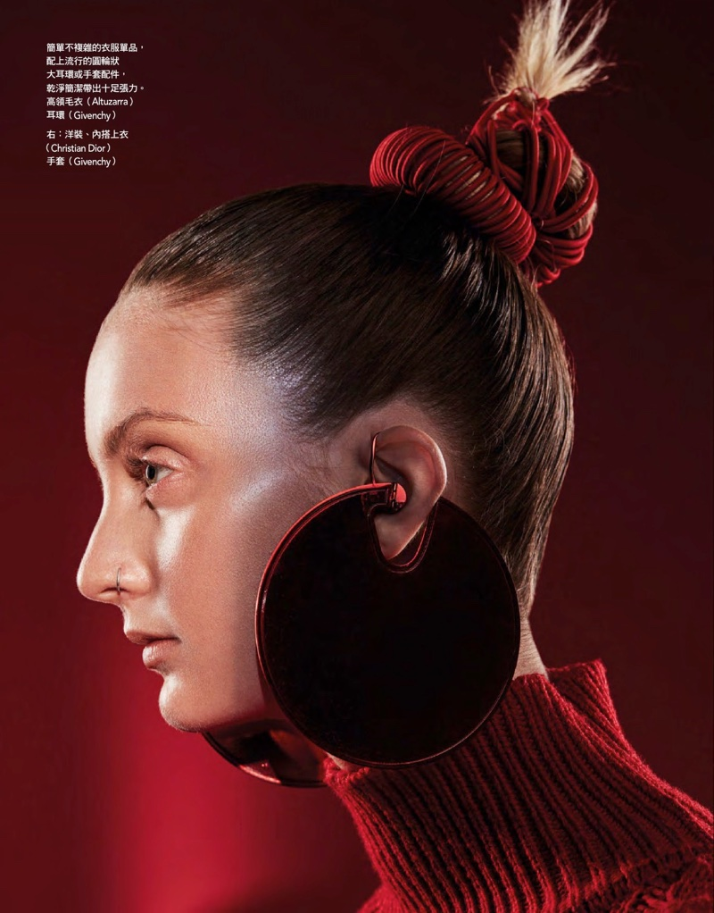 Codie Young Models Head-to-Toe Red Fashion for Vogue Taiwan