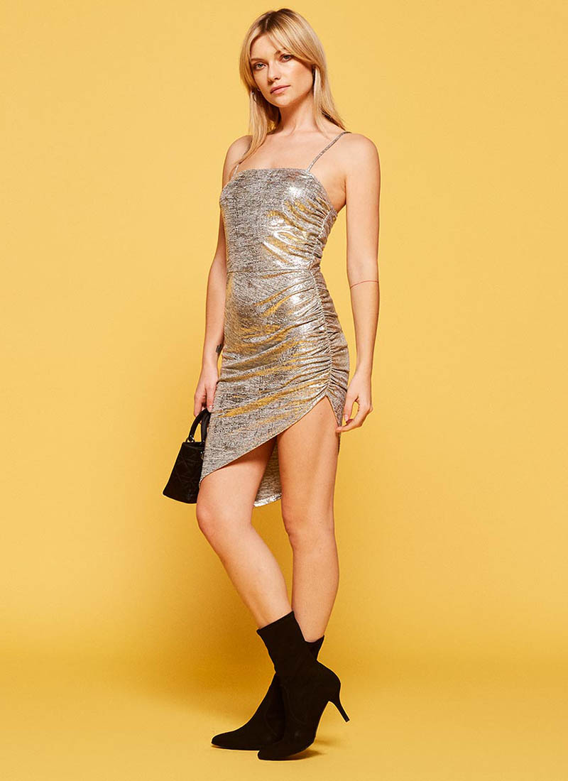 Reformation Flare Dress in Sparkle $118