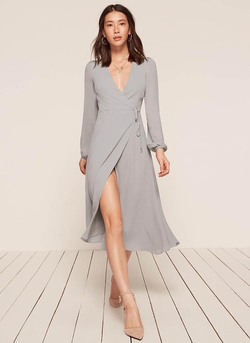 Reformation Petites Nicole Dress in Sky $248