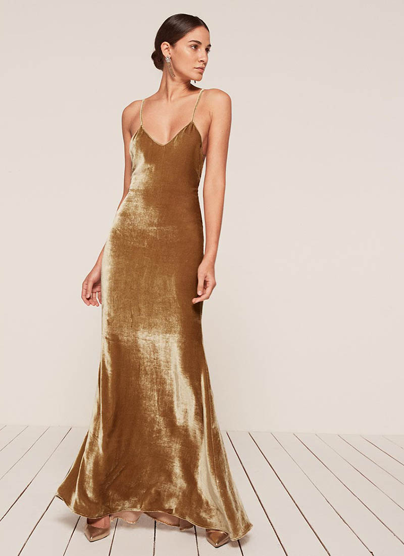 Reformation Petites Rimini Dress in Gold $388