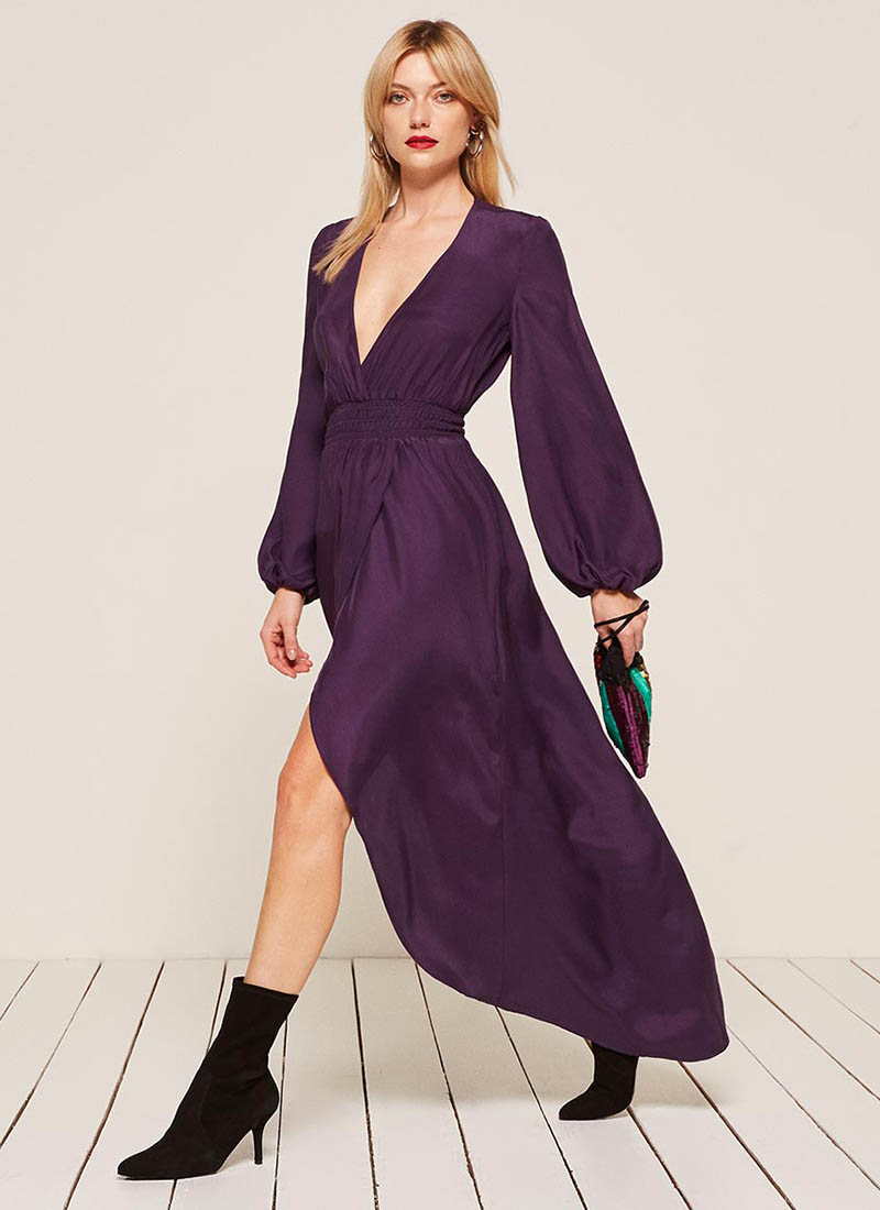 Reformation Rosalina Dress in Aubergine $248