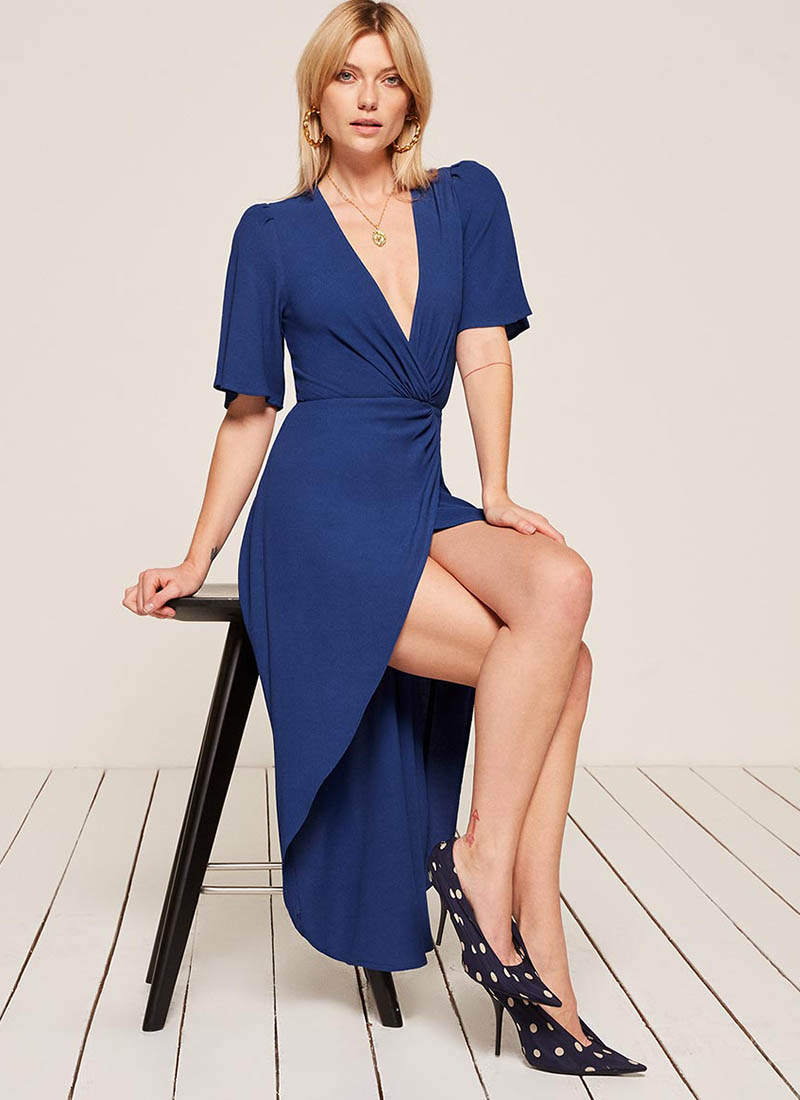 Reformation Westport Dress in Cobalt $218