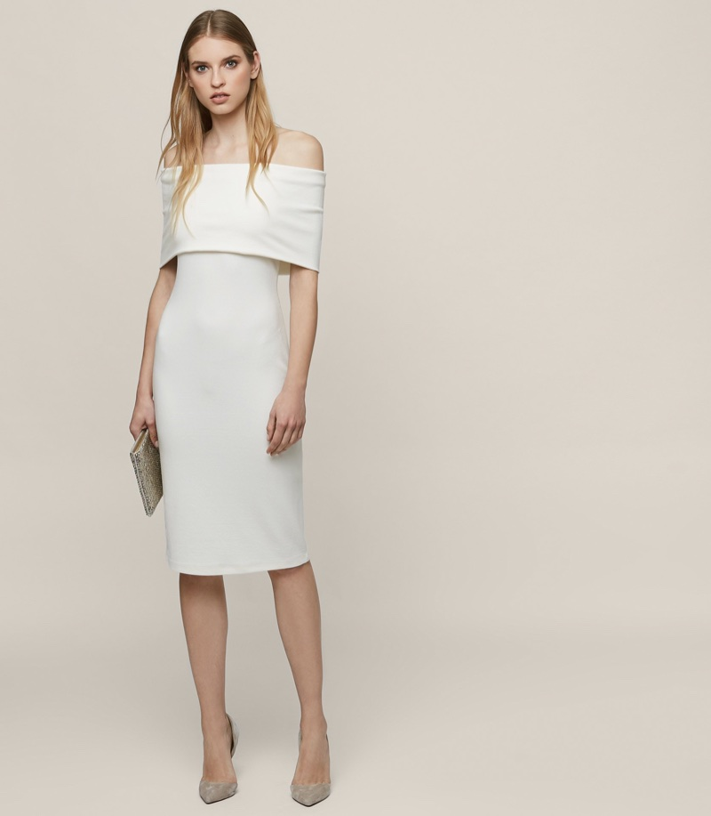 REISS Rafferty Off-the-Shoulder Bodycon Dress $120 (previously $285)