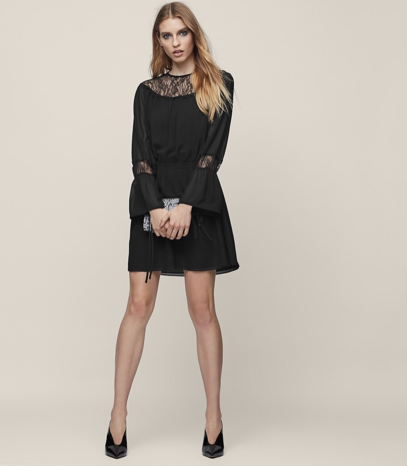 REISS Rexie Lace-Panel Boho Dress $140 (previously $320)