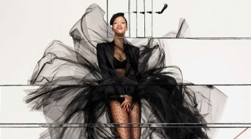 Rihanna strikes a pose in an all-black ensemble