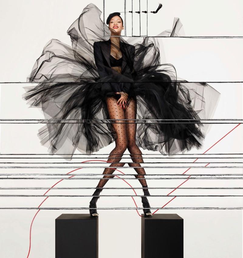 Rihanna strikes a pose in an all-black ensemble