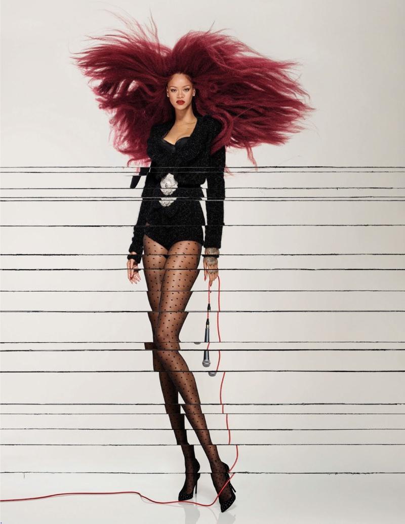 Singer Rihanna wears a black bodysuit
