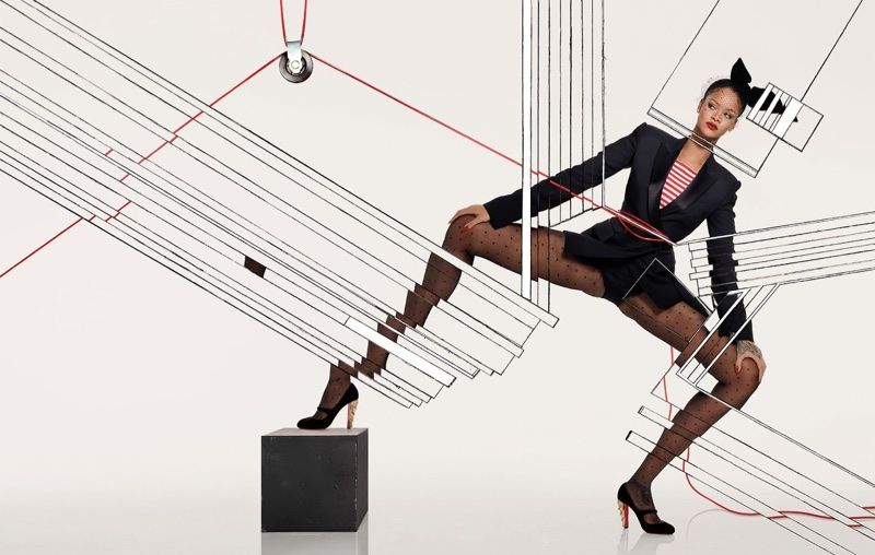 Rihanna poses in Christian Loubotin heels