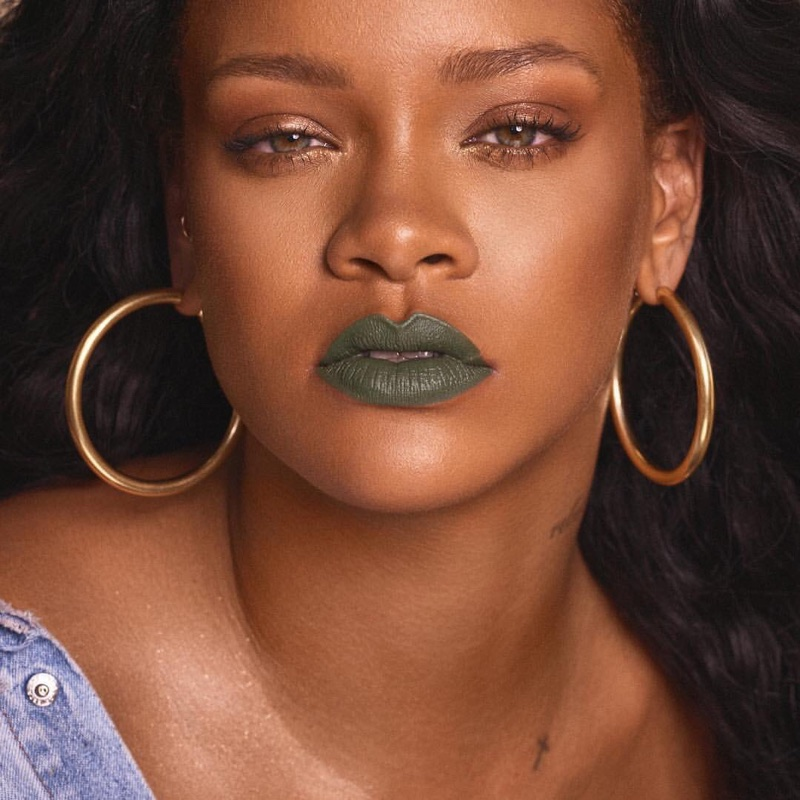 Rihanna wears Fenty Beauty Mattemoiselle lipstick in Midnight Wasabi