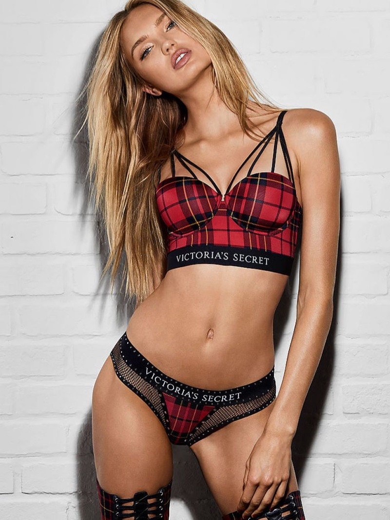 Romee Strijd rocks plaid in Victoria's Secret x Balmain collaboration