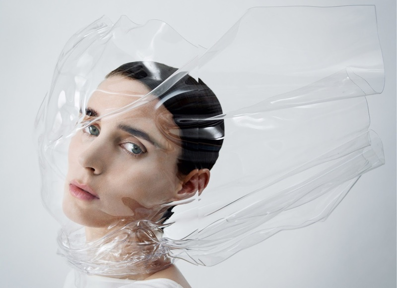 Getting her closeup, Rooney Mara wears sheer veil