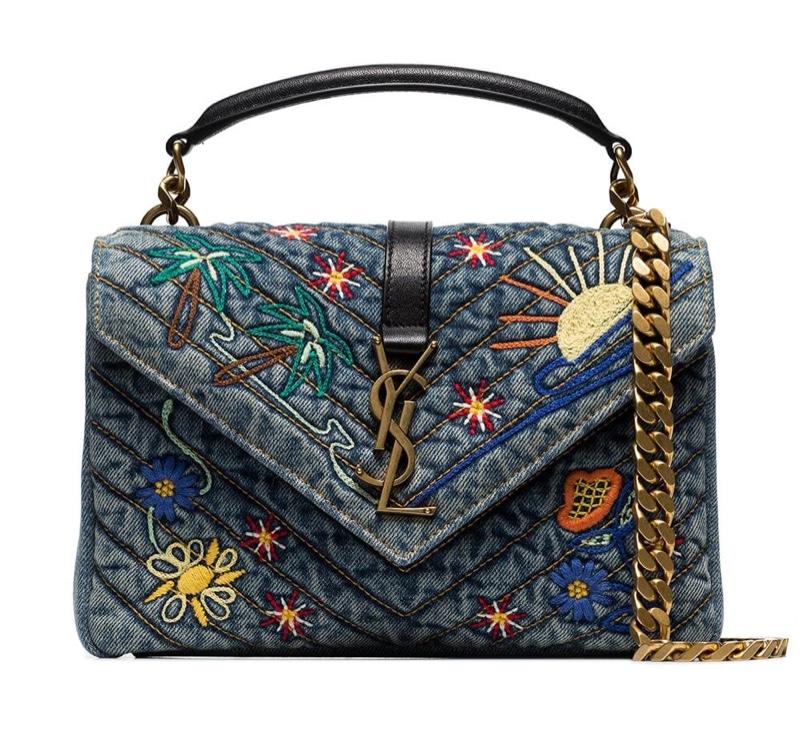 Saint Laurent Blue College Embroidered Denim Shoulder Bag $2,329