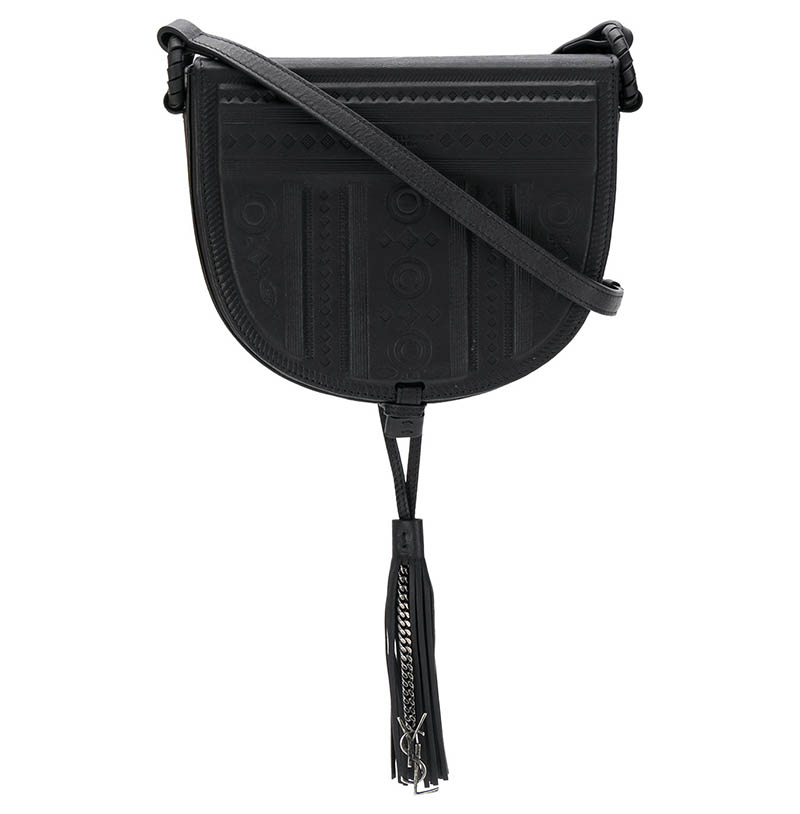 Saint Laurent Decorative Embossed Saddle Bag $2,250