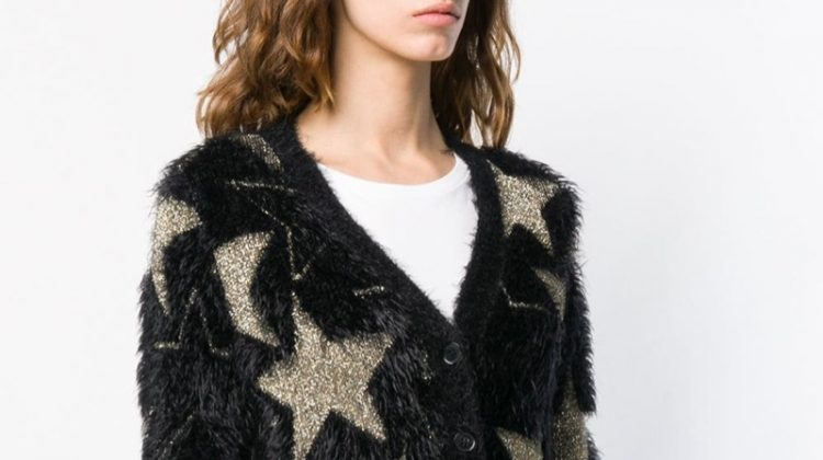 Saint Laurent Lurex Stars Jacquard Cardigan $1,062