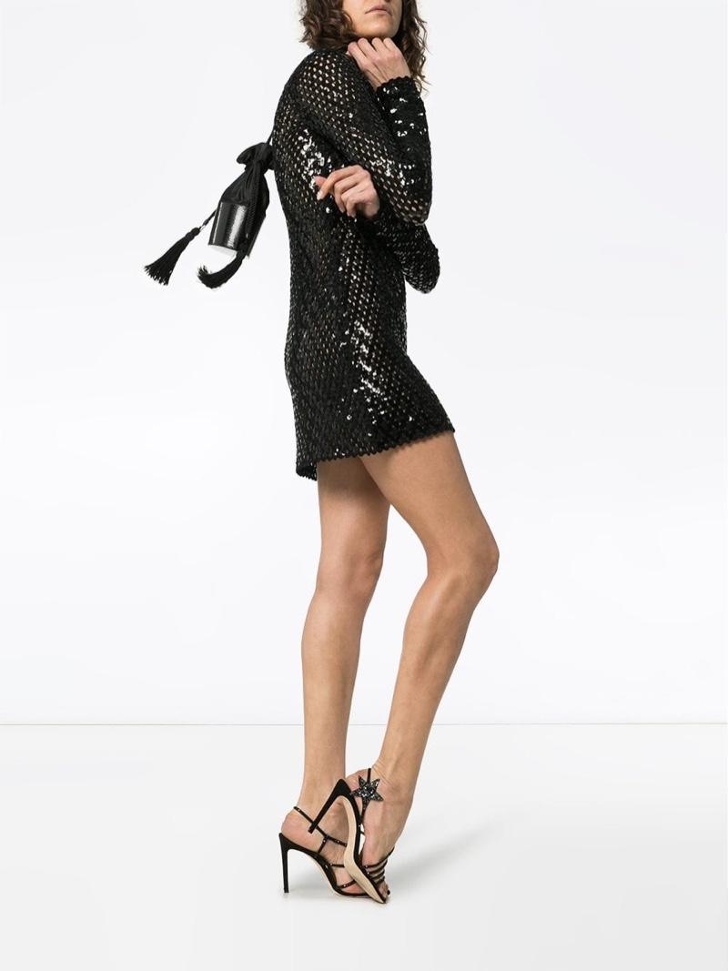 Saint Laurent Sequin Embellished Knitted Mini Dress $3,441
