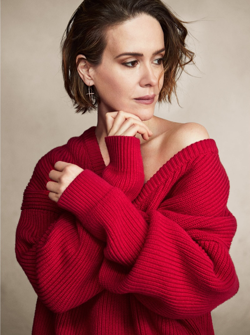 Actress Sarah Paulson wears Balenciaga sweater and Hirotaka earring