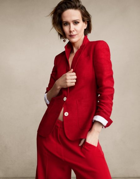 Sarah Paulson Takes On All-Red Fashions for The Edit