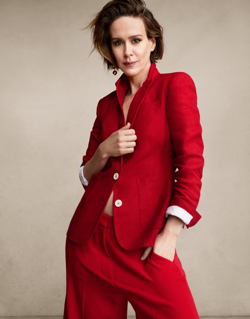 Suiting up, Sarah Paulson wears Hillier Bartley blazer and Stella McCartney pants with Sophie Buhal earring