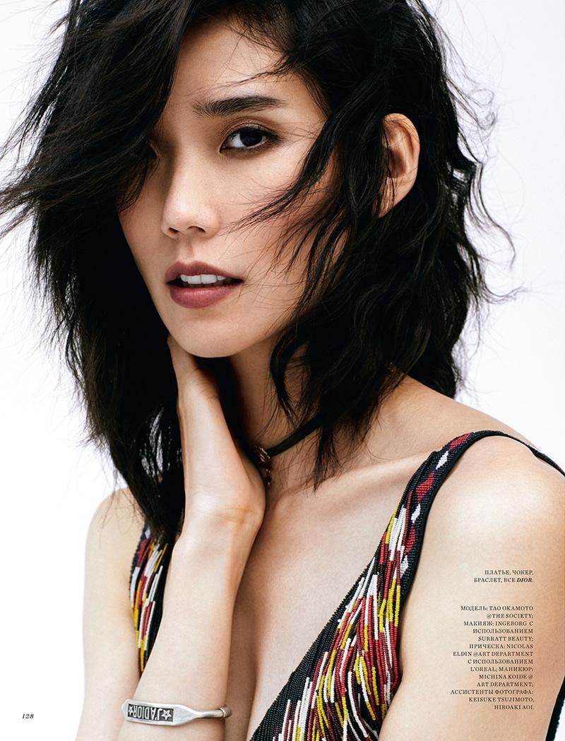 Tao Okamoto Models Chic Resort Looks for Harper's Bazaar Kazakhstan