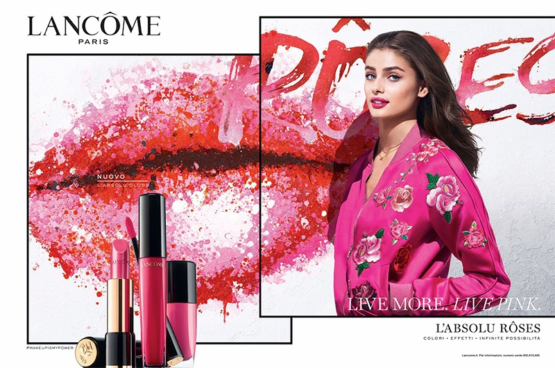 Model Taylor Hill fronts Lancome L'Absolu Roses advertisement